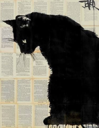 "Saatchi Art Artist Loui Jover; Drawing, ""cat""This artist mainly works with ink on newsprint and old paper. #CatArt"