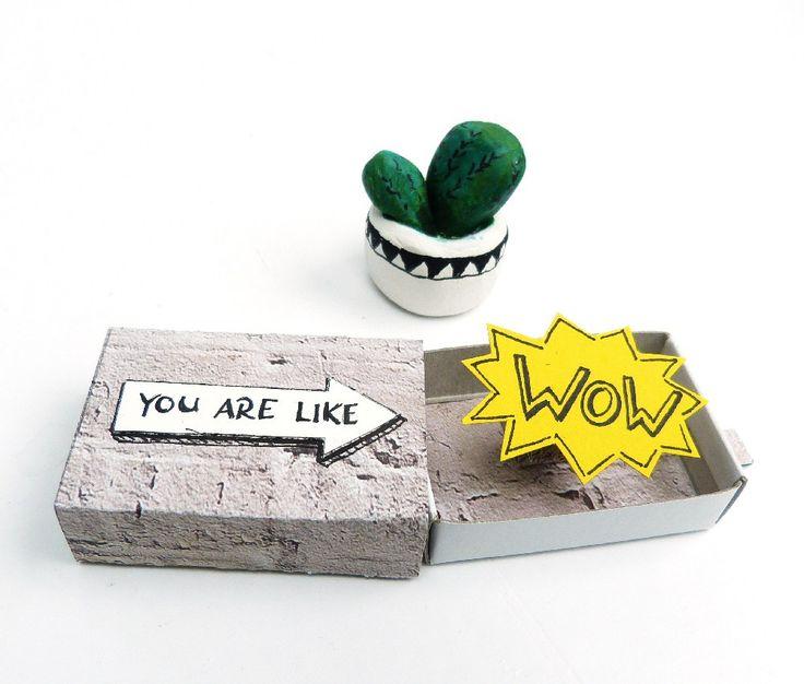 Streichholzschachtel DIY mit pop-up-Effekt. Komplimente und Grüße verschenken.