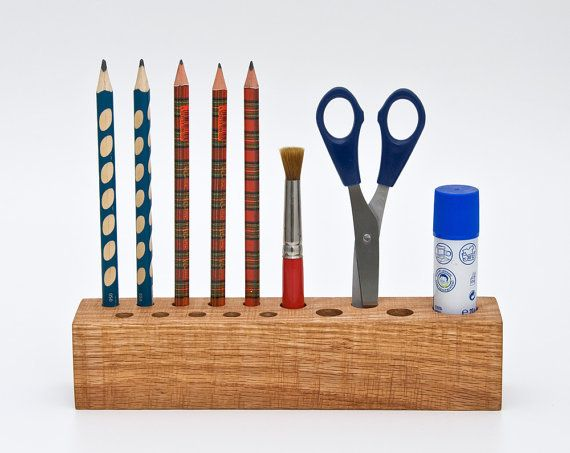 craft organizer - why didn't I think of drilling holes in pretty wood? So easy.