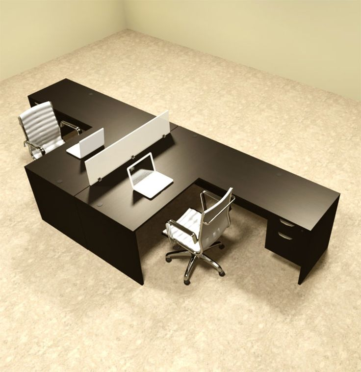 Two Person L Shaped Divider Office Workstation Desk Set, #OT SUL FP40