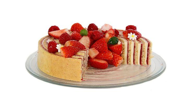 Tarta Fraisier con crema Mousseline y mermelada de fresas