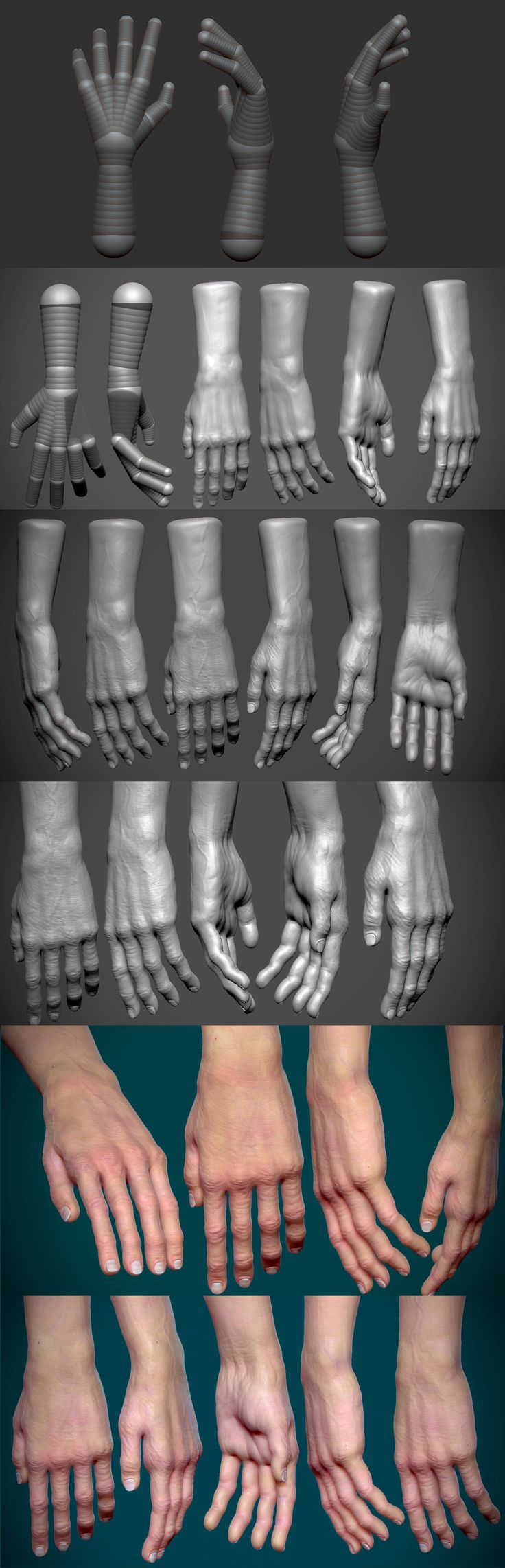 Zbrush Hand modelling complete process