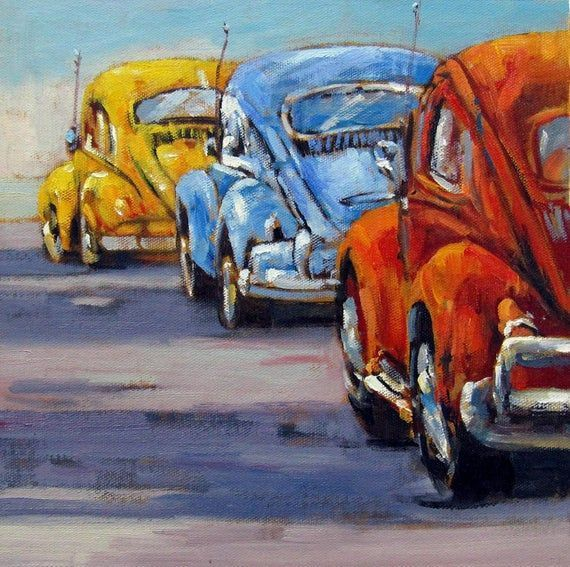 12 X 12 Inches Decorative Volkswagen A09 Oil On Canvas Painting Art Gift Idea Tuval Uzerine Yagliboya Tuval Sanati Sanatsal Resimler