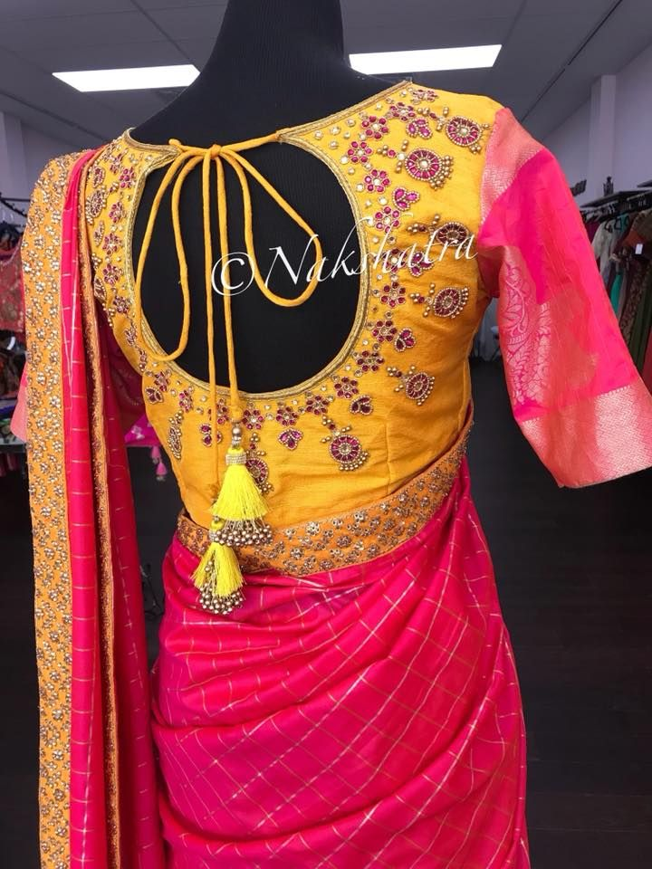 b8319d1637b243 What s on Nakshatra mannequin today. Beautiful yellow and pink color blouse  with chaandbali design hand embroidery kundan and bead work. 18 August 2018