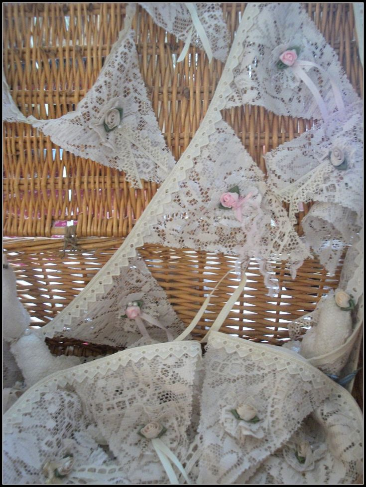 Vintage style TEA DYED LACE wedding bunting,banner,garland. $40.00, via Etsy.