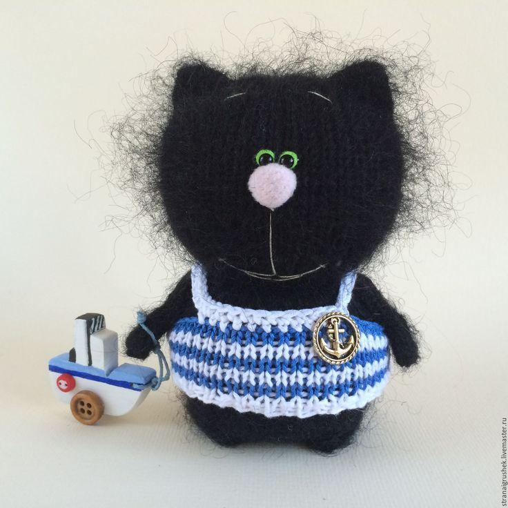 Купить Котенок Моряк. - черный, кот, кот игрушка, моряк, вязаная игрушка, вязаный кот