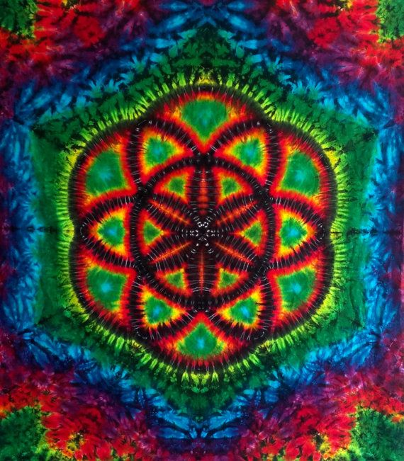 Seed of Life Tie Dye Tapestry Sacred Geometry Wall Hanging Hippie Decor Psychedelic Decor Mandala Tapestry Wall Art Hippie Tapestry