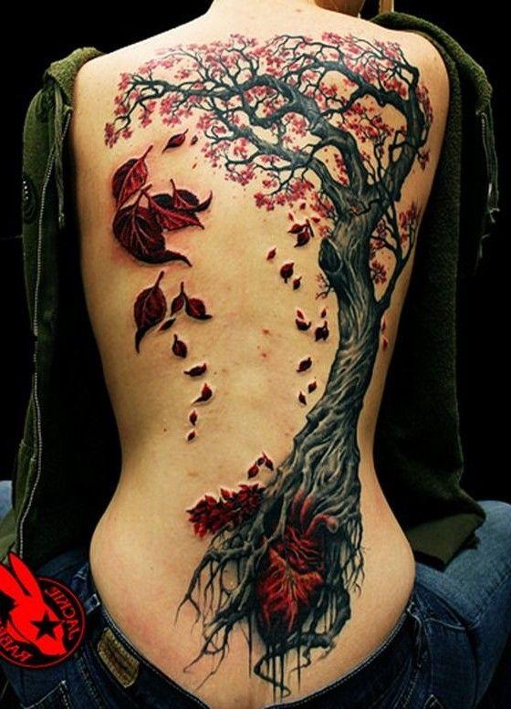 Cool Fall Tree Tattoo On Back, New Flower Tattoos August 2016