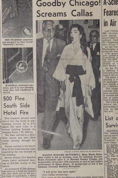 Goodby Chicago! Screams Callas Chicago American, 18 novembre 1955 . Mostra Maria Callas Verona - Fotogallery