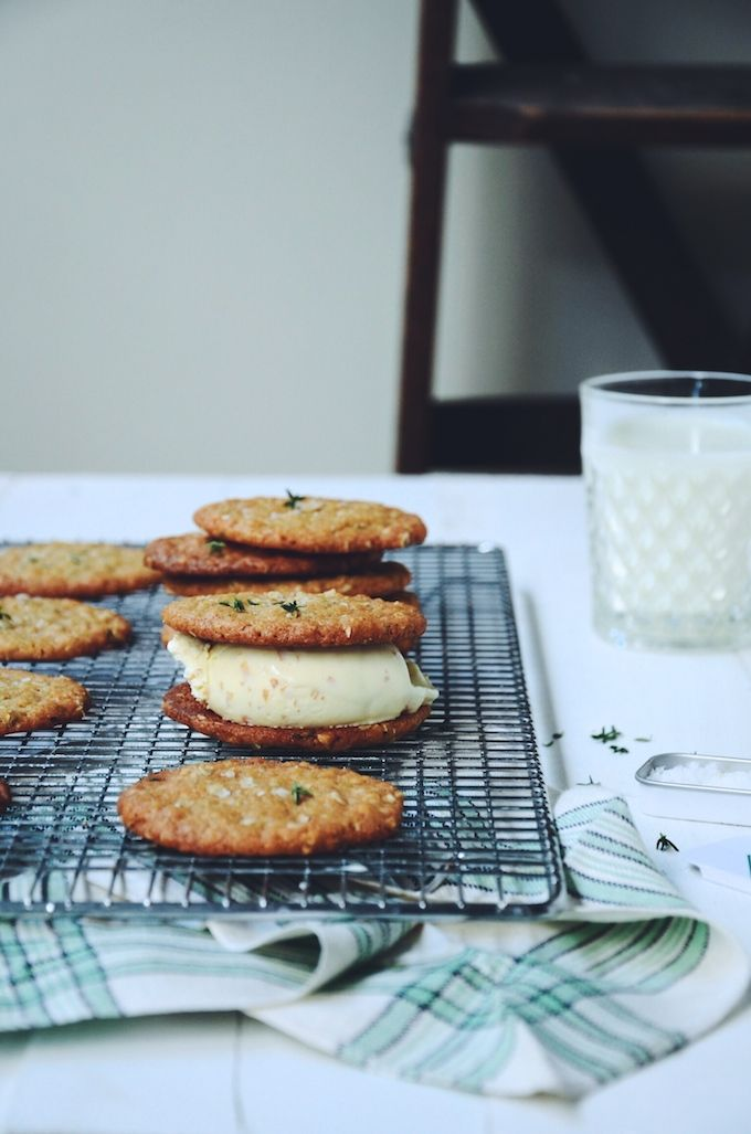 salted oat and thyme cookies with toasted coconut ice cream via baked the blog.