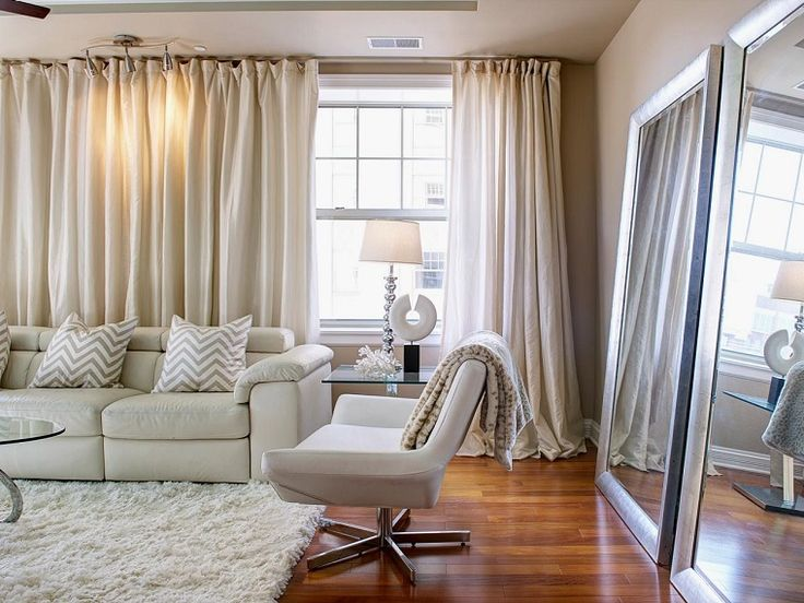 cortinas beiges para el saln moderno
