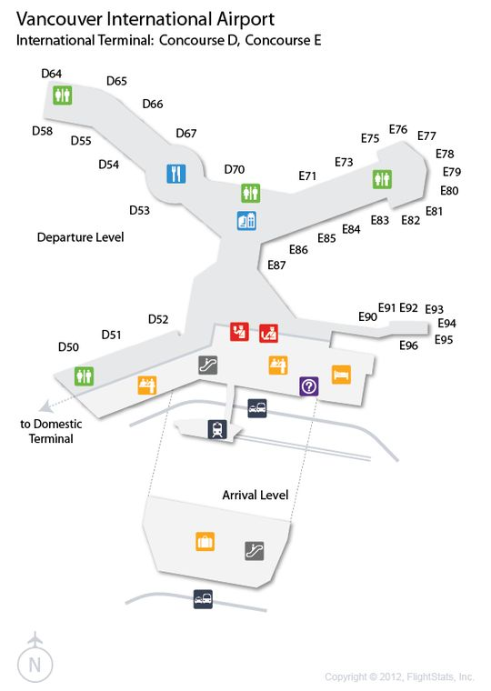 (YVR) Vancouver International Airport Terminal Map