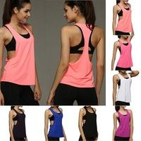 Wish | Women's Sports Vest professional quick-drying fitness Tank Top Active workout Yoga clothes T-shirt running Gym Jogging Vest