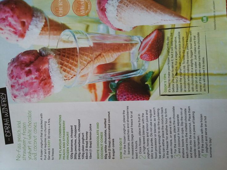 No-fuss Peach and Strawberry Frozen Yoghurt in White Chocolate and Coconut Cones