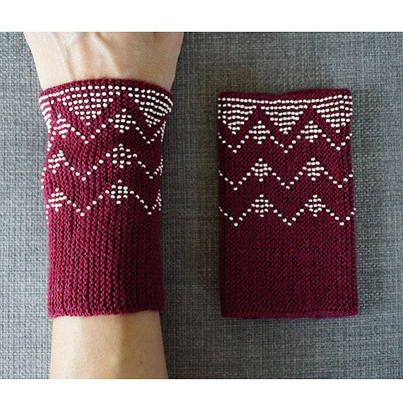 Maroon and cream beaded wrist warmers/ knitted by WoolAndDot