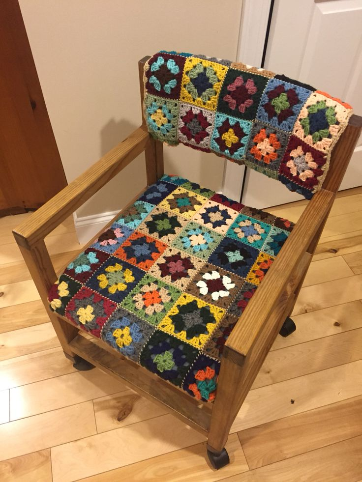 Mom crocheted a cover for her chair by using granny squares. Gave the chair a new look!