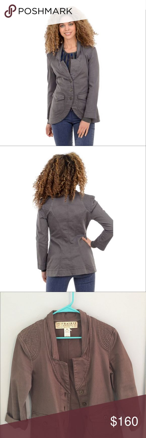 "Prairie Underground Vernacular Blazer, Dior Grey Still being sold online at Evie Lou for $220! Size medium. Made with organic cotton in the USA. ""Tough-girl chic at its finest, Vernacular is beautifully tailored for a close fit. Done in an organic-cotton twill, this jacket has a split lapel, a button-front placket and a tulip-shaped hemline. Flap pockets sit on the high hip."" Prairie Underground Jackets & Coats Blazers"