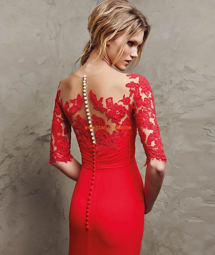 Lange rode gaas, uitlopende Empire jurk gedrapeerde lijfje met lieverd hals en 3/4 mouwen