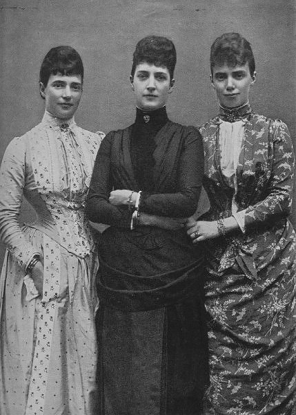 1889 - Three daughters of King Christian IX of Denmark: Empress Marie Feodorovna of Russia, Alexandra, Princess of Wales (in mourning) & Thyra The Duchess of Cumberland