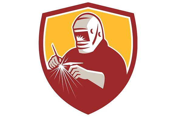Tig Welder Welding Crest Retro Graphics Illustration of a tungsten inert gas tig welder with welding torch welding set inside shield crest o by patrimonio