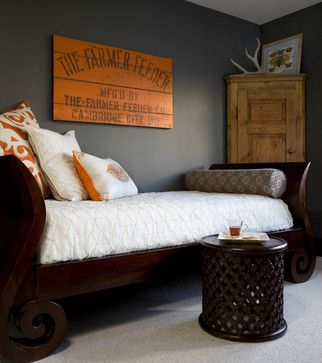 Gray and Orange - Tyler keeps asking for an orange bedroom.  Love the thought of gray walls and orange accents!