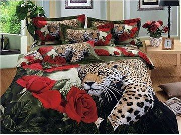 Luxury Leopard and Roses Print 4-Piece 100% Cotton Duvet Cover Sets