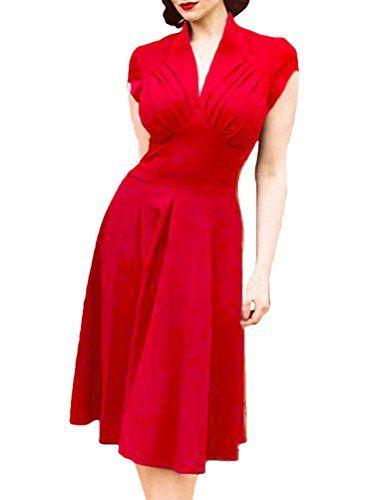 YuanDian Donna Anni 50 Vintage Audrey Hepburn Stile Senza Maniche  Elasticità Slim Fit Aderente Midi Vestiti 2d2bf97cbe1