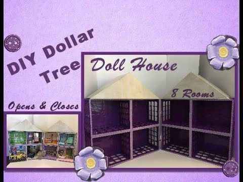 DIY doll house with items from Dollar Tree