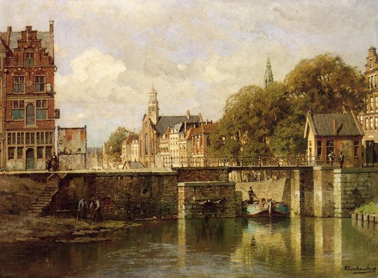 A View of Amsterdam with a Man in a Flat on a Canal, a Church in the Distance by Johannes Christiaan Karel Klinkenberg