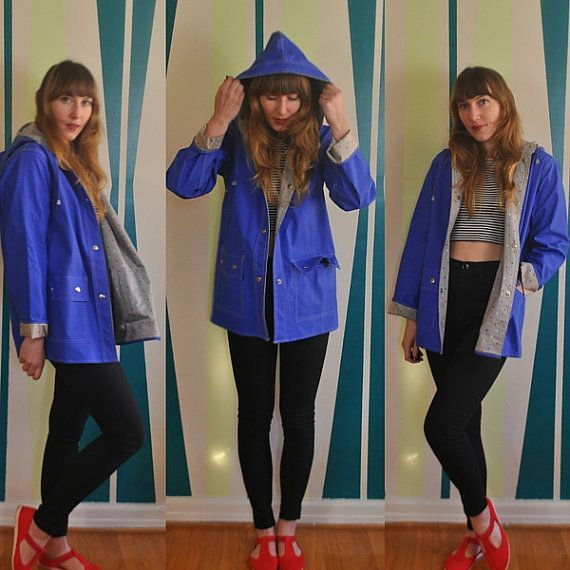 Vtg 80s RAINCOAT / Blue parka CUTE red white blue HEART lining / Hooded with pockets / Hipster Rain Jacket Items International Small Medium