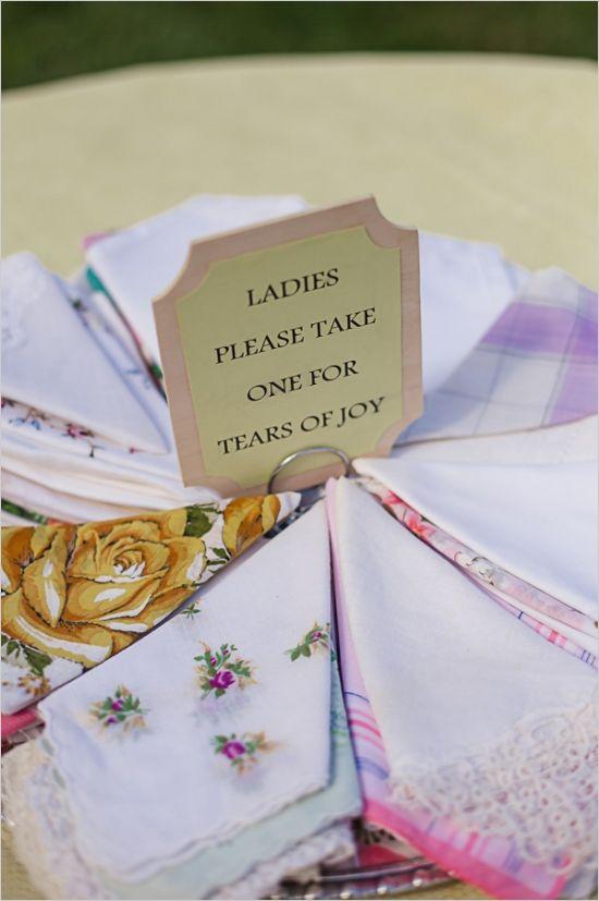 vintage hanky wedding favors for tears of joy #weddingfavors #vintagehankies #weddingmusts http://www.weddingchicks.com/2013/11/01/diy-barn-wedding-2/