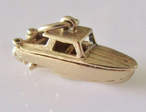 9ct Gold Motor Boat Opening Charm Dated 1959