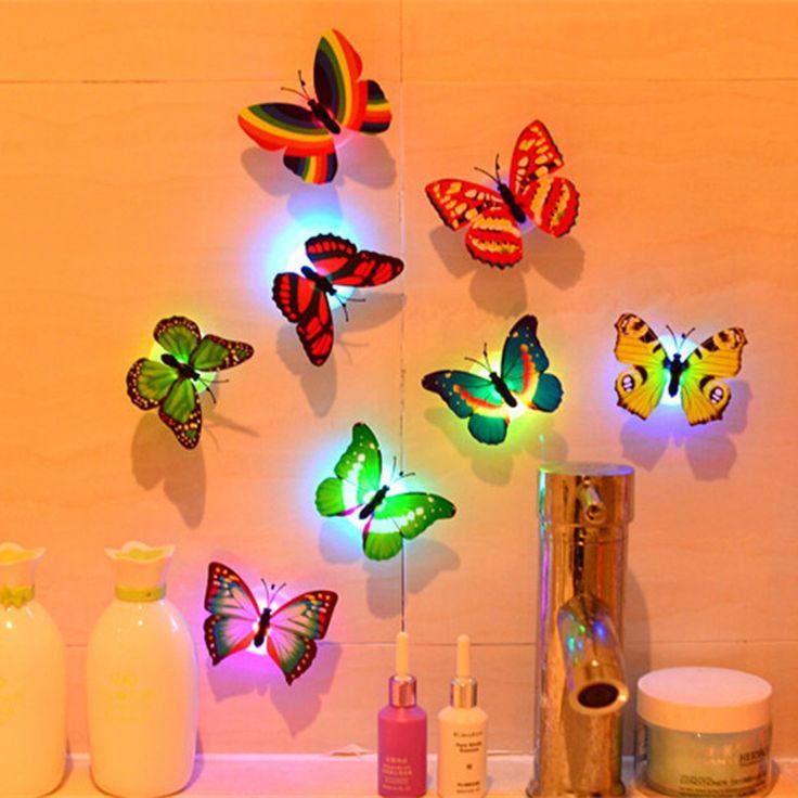 1 Stücke Wandaufkleber Schmetterling Led-leuchten Wandaufkleber 3D Haus Dekoration Zufällige Farbe Hohe Qualität wandaufkleber Tapete