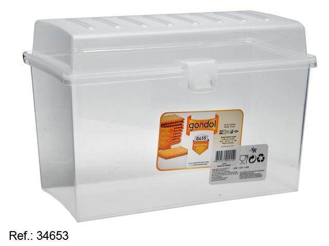 Contenitore scatola plastica  trasparente per biscotti cibi o vivande cod. 34653