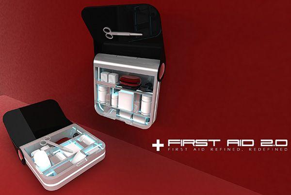 First Aid: la boîte à pharmacie du futur.  Selon le Code du travail, les locaux professionnels doivent être équipés d'un matériel de premier secours facilement accessible ou d'une trousse de secours.