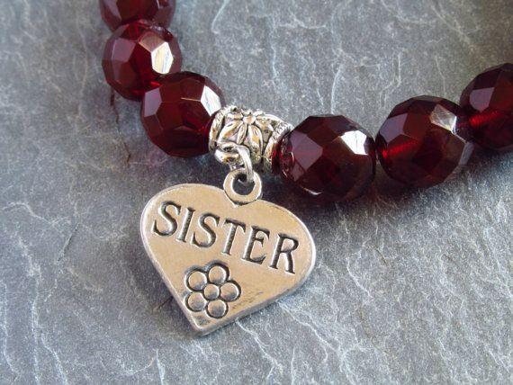 Sister bracelet,Valentines gift, garnet bracelet, red bracelet, stretchy bracelet, loving sister, gift for sister, sister love,January stone