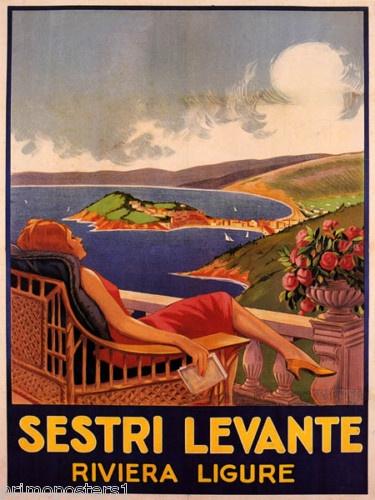 Italy Vintage Sestri Levante Riviera (Liguria) by Filippo Romoli - SEA Repro Poster #riviera #essenzadiriviera.com