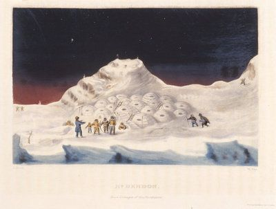 An Inuit village visited by explorer John Ross and party on 10 January 1830 during their expedition to find the Northwest passage.
