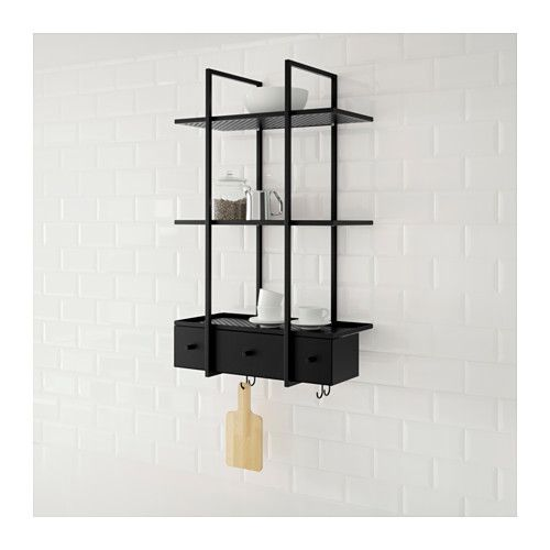 FALSTERBO Wall shelf IKEA The shelves have a ledge to prevent whatever you place on them from sliding off.