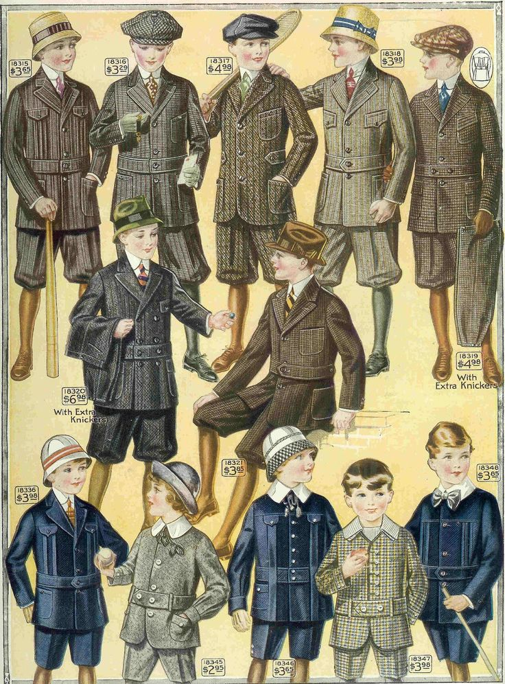 Antique Images: Free Men's Fashion Illustration: 1915 Boy's Sporting Fashion from Clothes Catalog