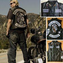 Sons of anarchy Colete preto do punk Jaqueta de Couro Da Motocicleta Harley