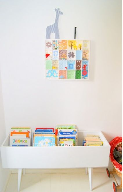 Books! This is an adorable way to store children's books. I love the idea if a diy repurposed drawer as a kids bookcase / bookshelf.  (book box /book bin?) so easy for small hands to rummage through without making a giant mess. Love.