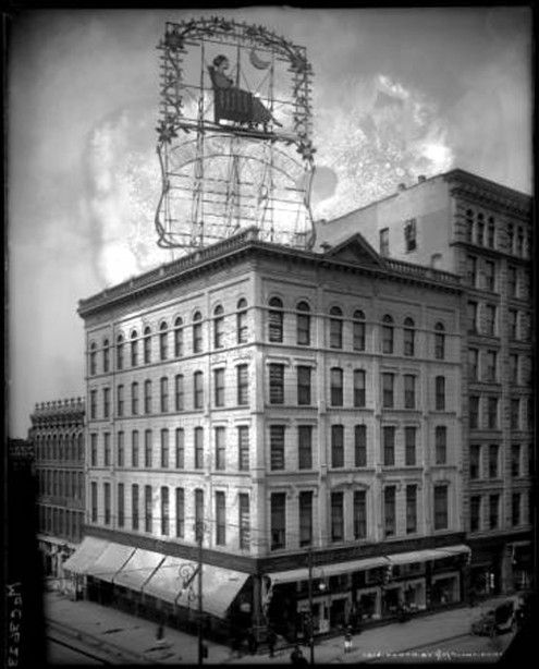 Davis & Shaw Furniture Co. had the first outdoor electric advertising sign in Colorado. In 1912, they installed a lighted sign on the Pioneer Building at Fifteenth and Larimer in Denver. It was the biggest sign in the state,  by 1917 they went even bigger. They replaced it with a larger and more elaborate lighted sign of a woman in a rocking chair. The sign was almost as tall as the Pioneer Building and remained in place until 1925 when a windstorm blew it down.