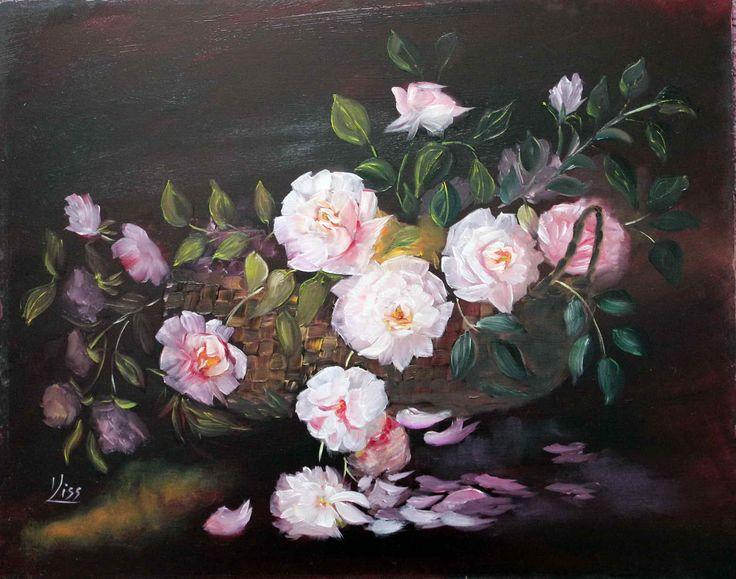 Rózsák kosárban. olaj, farost 40x50