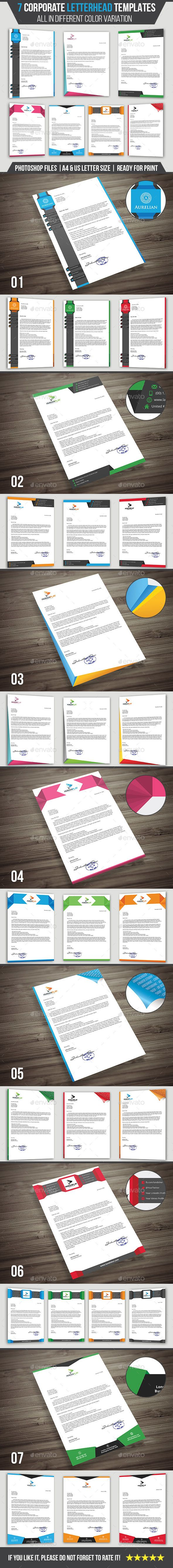 7 #Corporate #Letterhead Templates Pack - #Stationery #Print #Clean and #modern 7-piece template pack suitable for #company #letterheads, #documents and #presentations.
