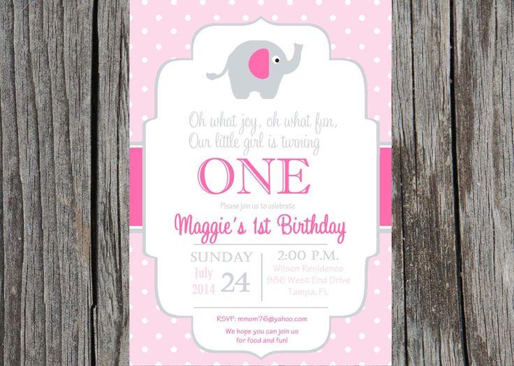 Printed elephant birthday invitation, girl birthday, elephants, baby girl, elephant birthday party by PrintYourEvent on Etsy https://www.etsy.com/listing/202103629/printed-elephant-birthday-invitation