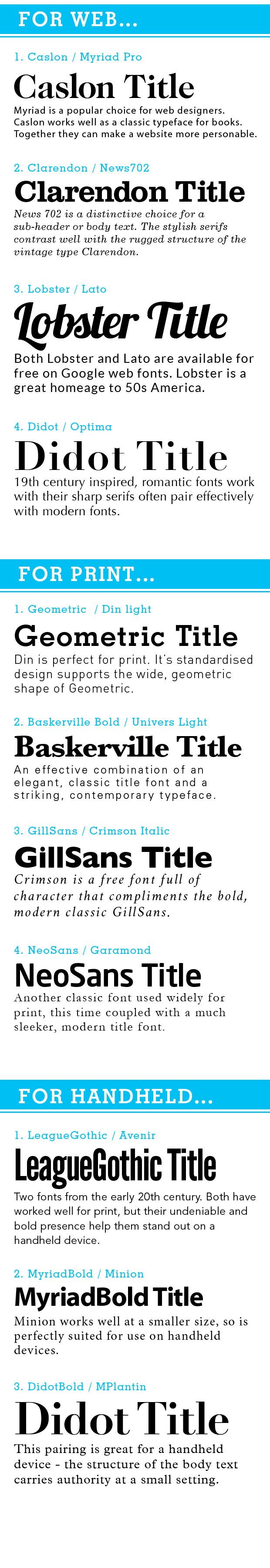 LONO Creative – 11 Font combinations for print, web and hand-held