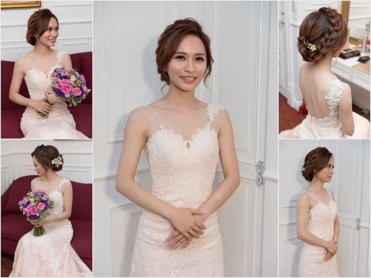 新秘Yuki│新秘推薦│北部新秘│粉紅色禮服│乾燥花造型│盤髮│新娘髮型│bun hairstyle│2017 Wedding Hairstyles
