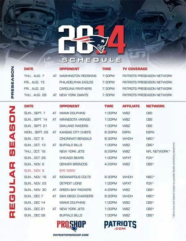 2014 Season Patriots Schedule