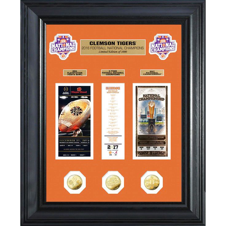 Clemson Tigers Highland Mint College Football Playoff 2016 National Champions Deluxe Gold Coin Ticket Collection - $149.99